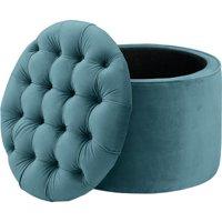 Queen Sea Blue Velvet Storage Ottoman