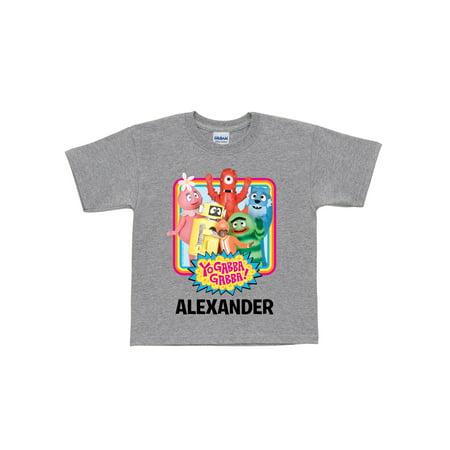 Personalized Yo Gabba Gabba Retro Kids' T-Shirt, Grey