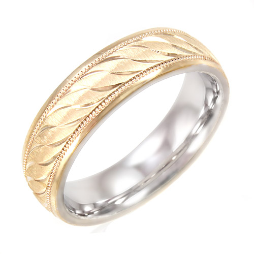 Men's Swirl Pattern 6mm Ring in 10kt Gold and Sterling Silver