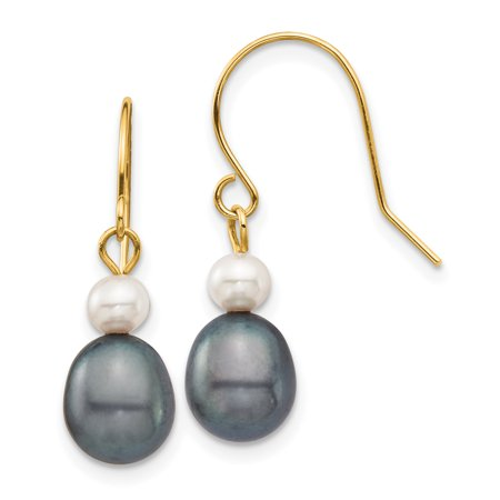 14K Yellow Gold Plated 4-7mm White & Black Round & Rice Fw Culutured Pearl Dangle Earrings