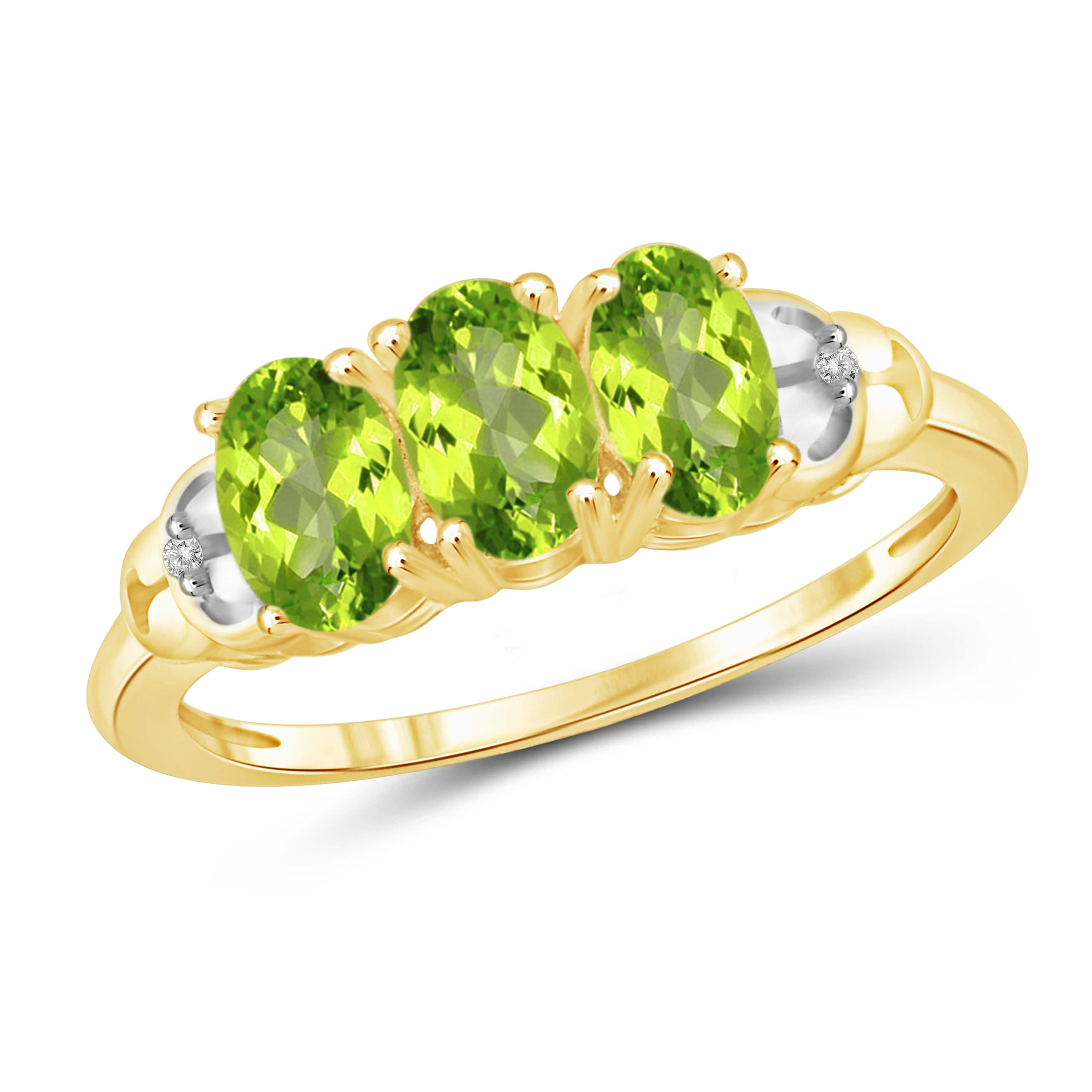 JewelonFire  Sterling Silver 1 1/2ct TW Peridot and Diamond Accent 3-stone Ring