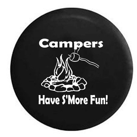 Campers Have S'more Fun Camping Travel Trailer Campfire Spare Tire Cover Black 27.5