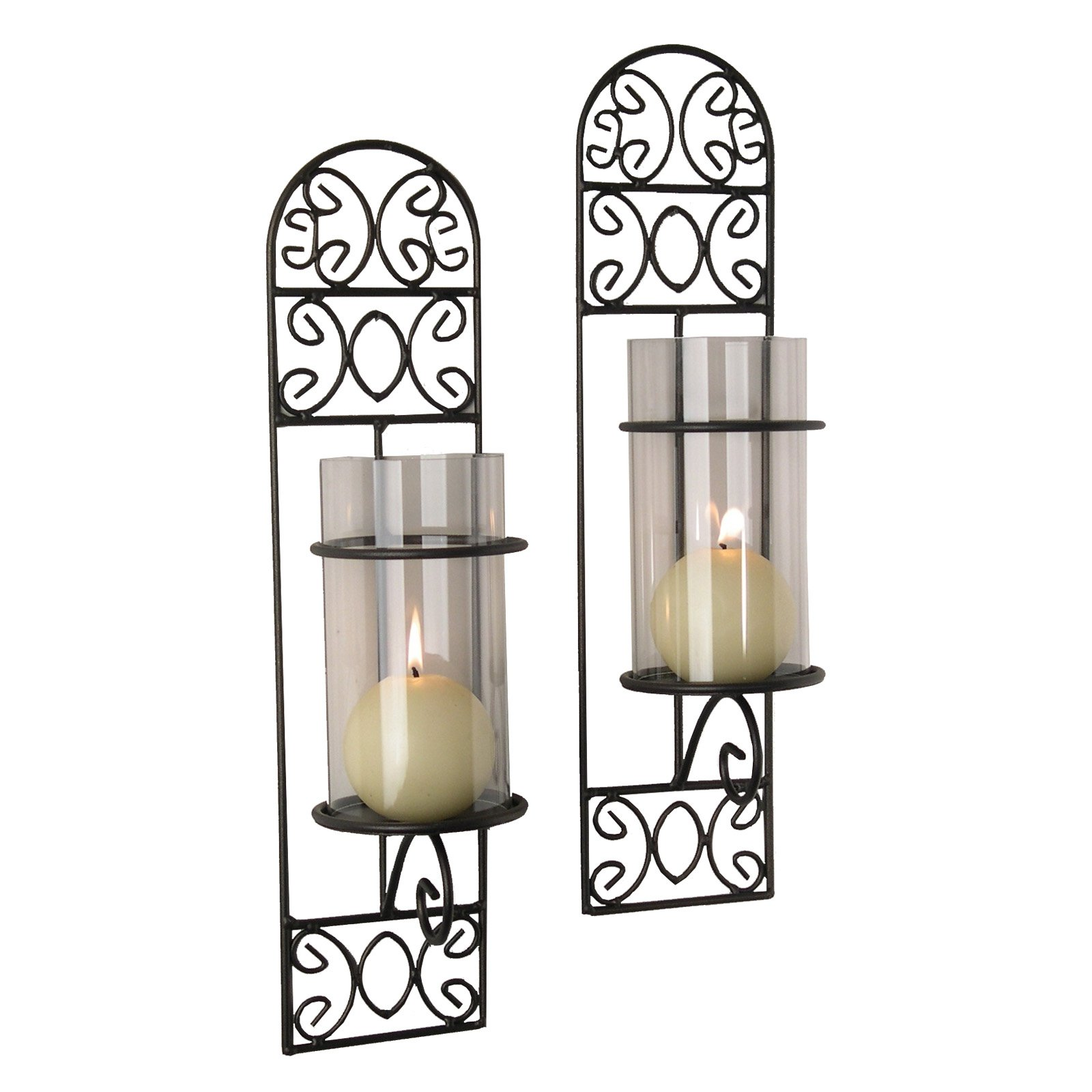 Danya B Madeira Metal Filigree Wall Sconces Set of 2 by Overstock