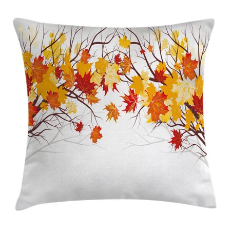 - Fall Decorations Throw Pillow Cushion Cover, Image of Canadian Maple Leaves in Fall with Soft Reflection Effects, Decorative Square Accent Pillow Case, 16 X 16 Inches, Orange White, by Ambesonne