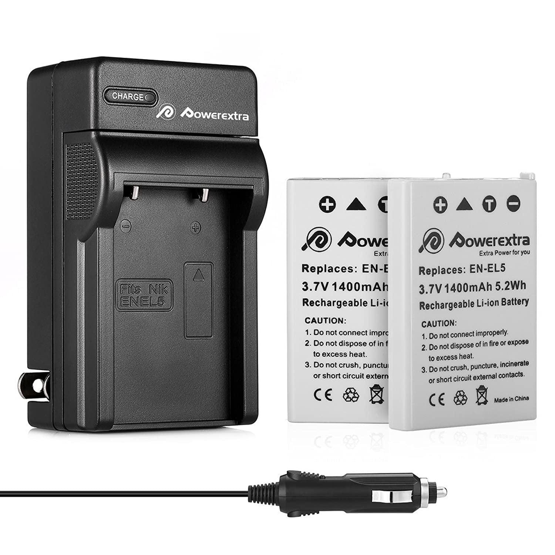 PowerTrust 2 Pack EN-EL5 Camera Battery and LCD USB Charger for Nikon Coolpix P530 P520 P510 P100 P500 P6000 P5100 P5000 P80 P90