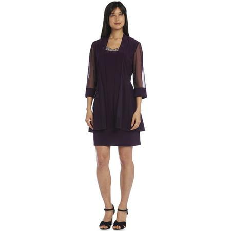 R & M Richards  Plum Bead Jacket Dress (Plumb Dress)
