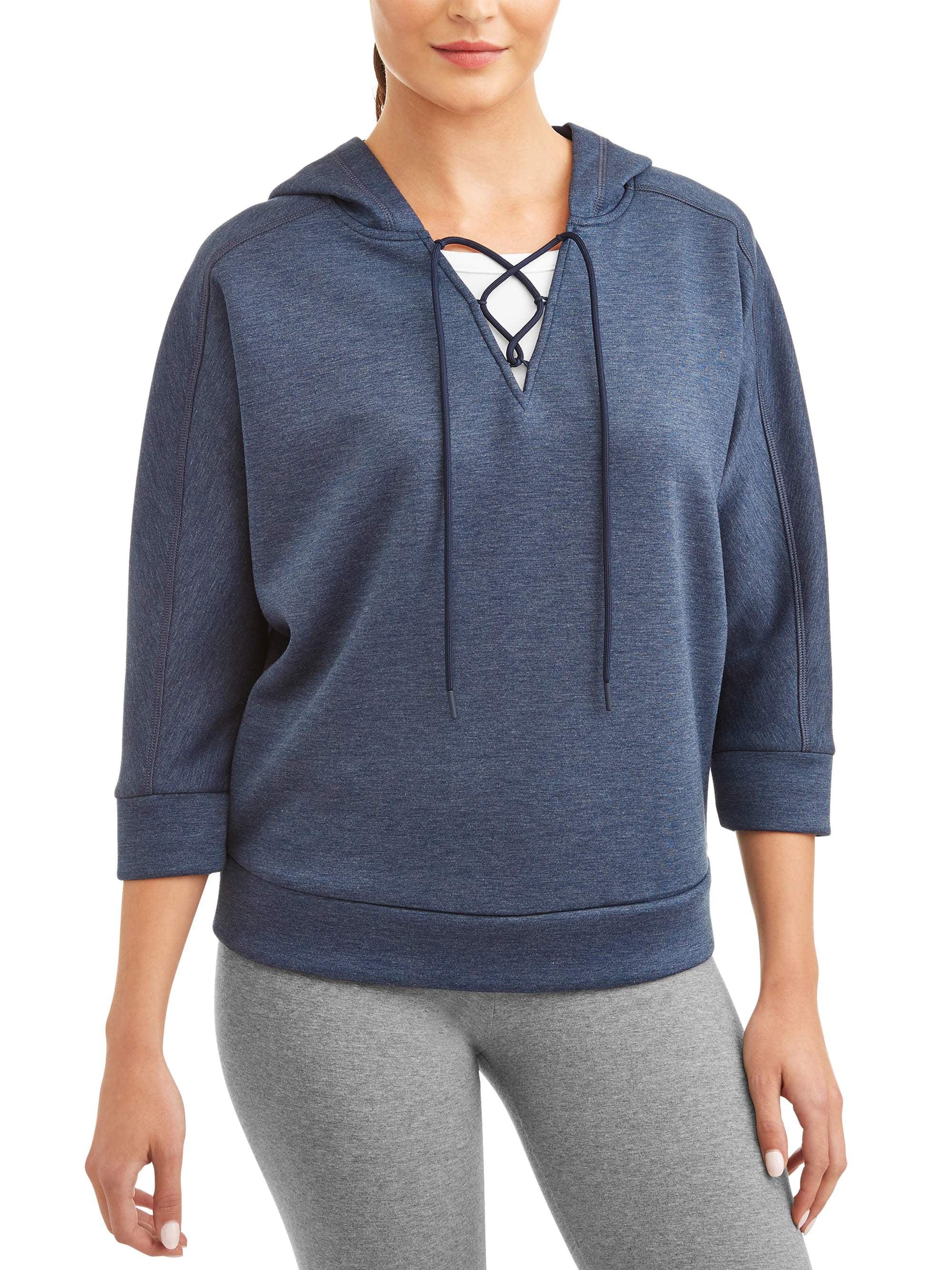 Avia Women's Athleisure Lace Up Lightweight Hoodie Sweatshirt