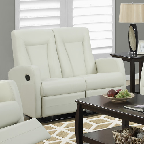 Monarch Reclining Love Seat Ivory Bonded Leather