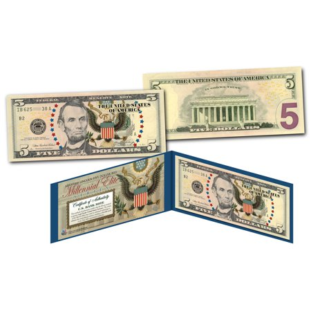 MILLENNIAL ELITE SERIES Genuine $5 U.S. Bill Abraham Lincoln SYMBOLS OF (Abraham Lincoln On The Five Dollar Bill)