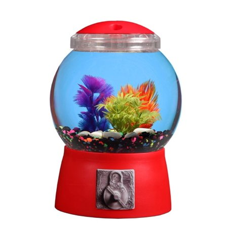 Aqua culture 1 5 gallon gumball aquarium led lighting 9 for Gumball fish tank