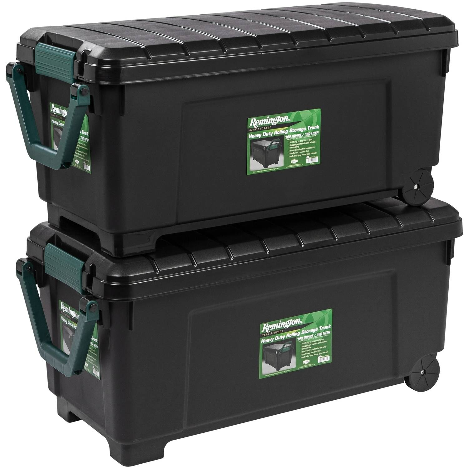 Remington 169 Qt. Plastic Storage Tote with Handle and Wheels, Green