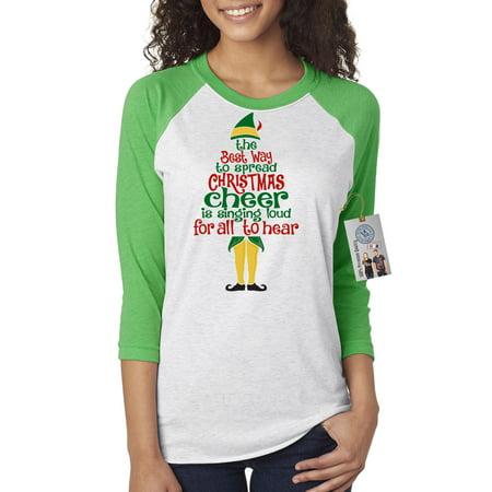Elf Spread Christmas Cheer Womens 3/4 Raglan Sleeve T-Shirt Top (Cheap Cheer Shirts)