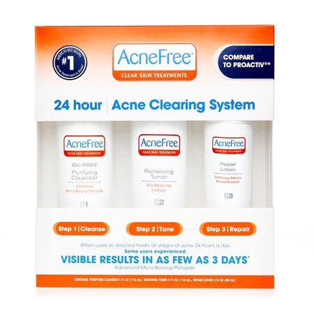 Image of AcneFree 24 Hour Acne Clearing System, Acne Treatment with Benzoyl Peroxide - 3 CT