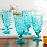 The Pioneer Woman Amelia 4-Piece 14.7-Ounce Goblet Set, Teal