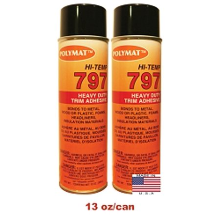 2: 20oz Can (13oz net) Polymat 797 Hi-Temp Spray Glue Adhesive: Industrial Grade High Temperature Glue, Heat and Water Resistant Spray Adhesive for Automotive Headliner, Marine Upholstery