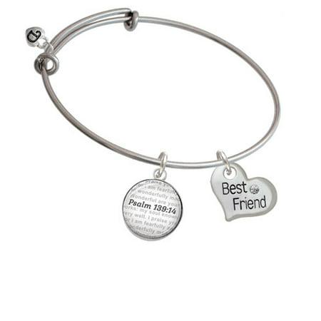 Large ''Best Friend'' Heart - Bible Verse Psalm 139:14 Glass Dome Bangle - Best Friends Bracelet
