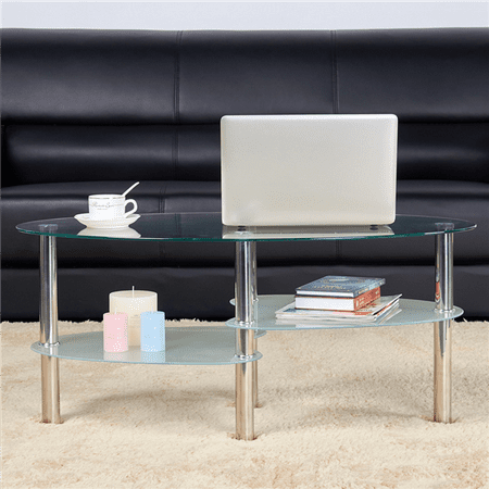 Topeakmart Oval Glass Coffee Table 3 Tier Round Cocktail Glass Side Table (Tier Glass Table)