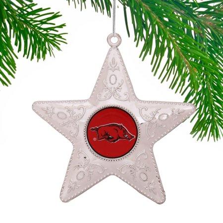 Arkansas Razorbacks Holiday Ornament - Arkansas Razorbacks Star Ornament - Silver - No Size