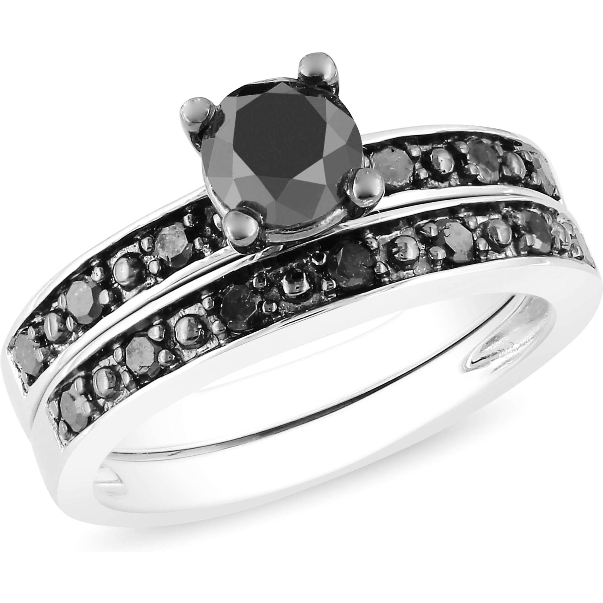 1 Carat T.W. Black Diamond Sterling Silver Bridal Set
