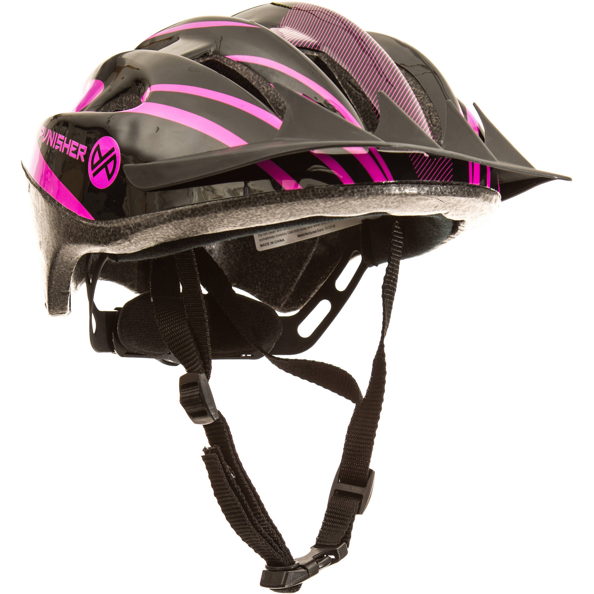 Punisher Women's 18-Vent Cycling Helmet with ABS Shell and Detachable Visor, Black and Pink