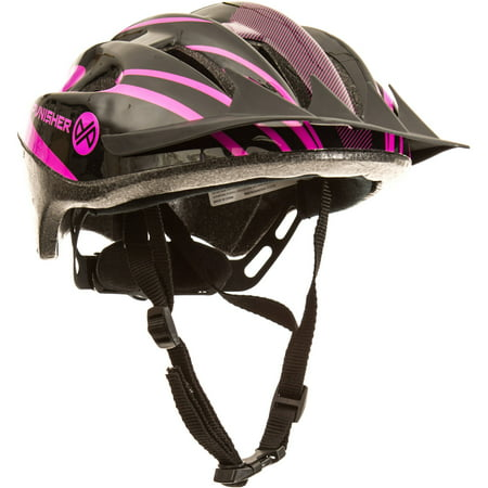 Punisher Women's 18-Vent Cycling Helmet with ABS Shell and Detachable Visor, Black and