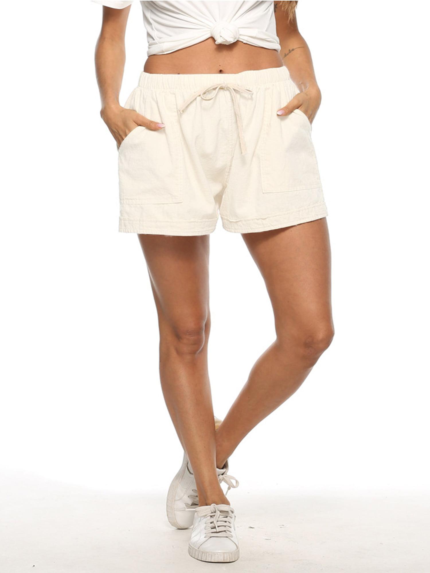 Womens Cotton+Linen Baggy Shorts Ladies Summer Elastic Waist Beach Casual Pants