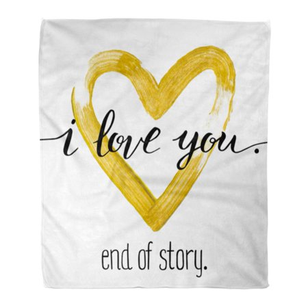 LADDKE Flannel Throw Blanket Paint Hand Written Valentine Day I Love You End Soft for Bed Sofa and Couch 58x80 Inches