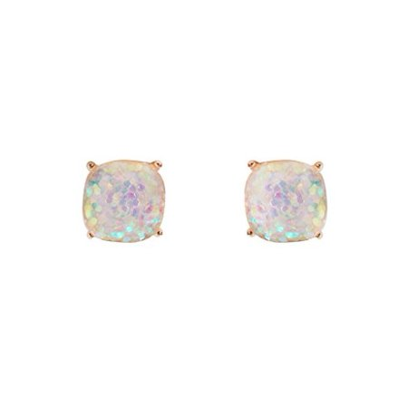 580d34628 Humble Chic NY - Faceted Square Glitter Stud Earrings Cushion Cut Statement  Post Ear Studs .55