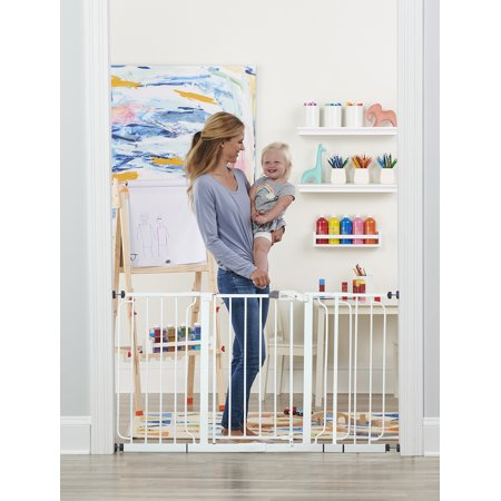 Regalo 56-Inch Extra WideSpan Walk Through Baby Gate, Bonus Kit, Includes 4-Inch, 8-Inch and 12-Inch Extension, 4 Pack of Pressure Mounts and 4 Pack of Wall Cups and Mounting