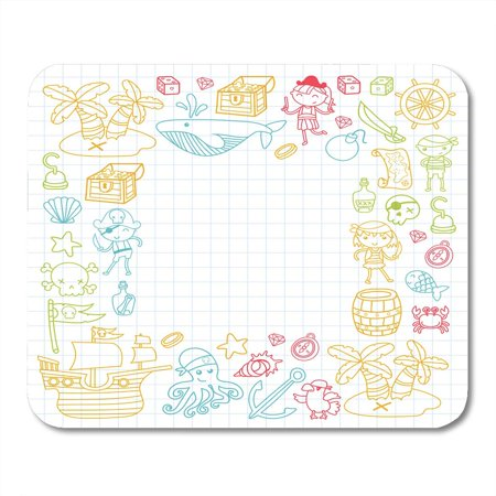 KDAGR Children Playing Pirates Boys and Girls Kindergarten School Preschool Halloween Party Treasure Island Mousepad Mouse Pad Mouse Mat 9x10 inch - Kindergarten Halloween Party Snacks