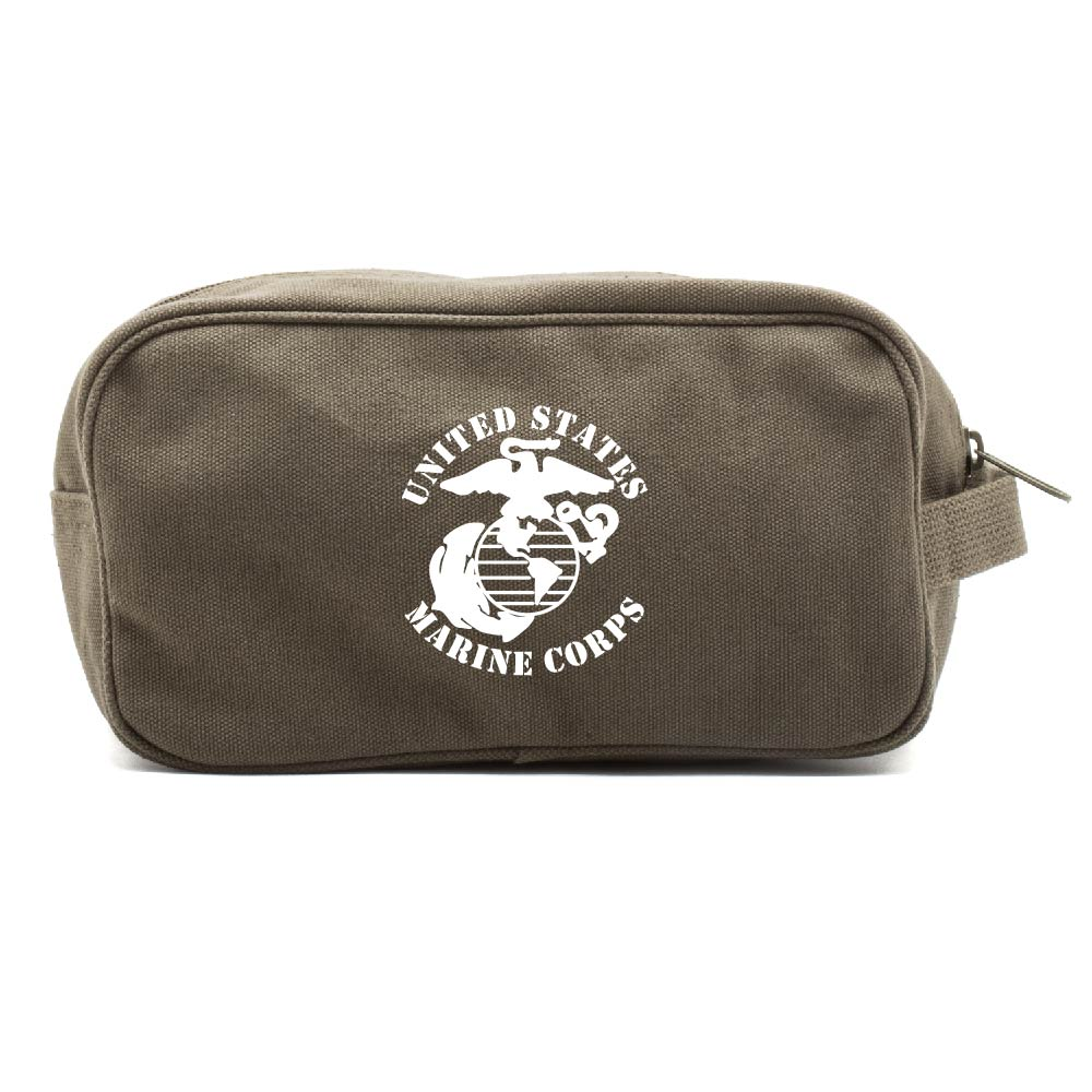 United States Marine Corps Canvas Shower Dual Compartment Travel Toiletry Bag