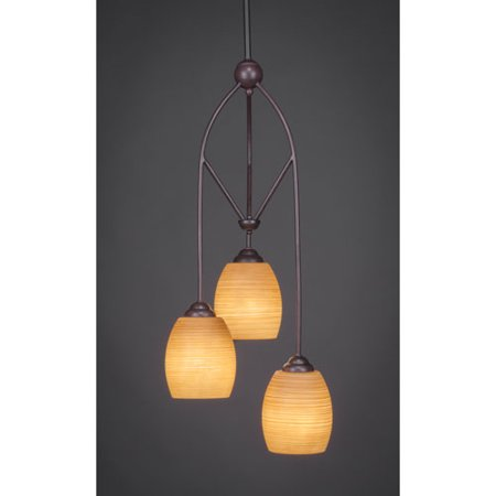Toltec Lighting 29-DG-625 Contempo 3 Light Multi Mini Pendant With Hang Straight Swivel Shown In Dark Granite With 5 Inch Cayenne Linen (Hang Pendant Lighting)