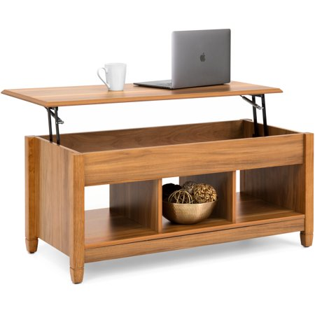 Best Choice Products Wooden Modern Multifunctional Coffee Dining Table for Living Room, Decor, Display with Hidden Storage and Lift Tabletop, Brown Dining Room Modern Coffee Table