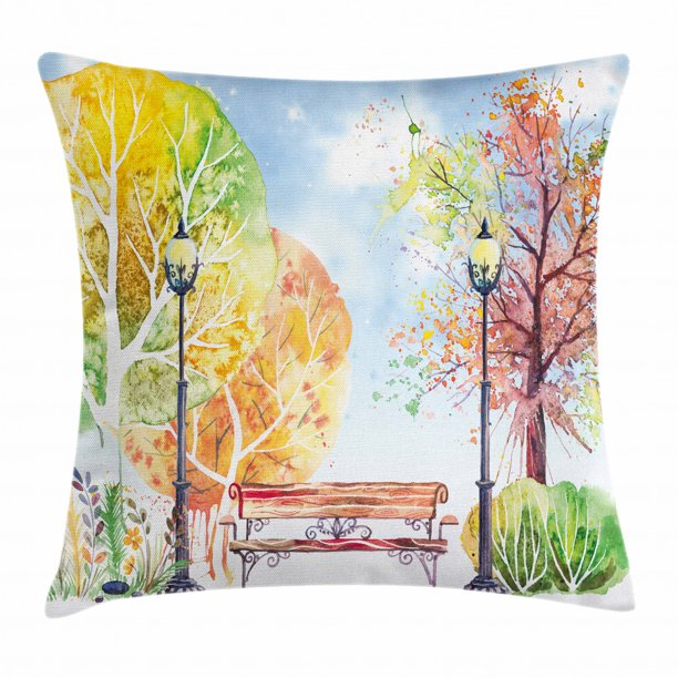 Landscape Throw Pillow Cushion Cover Hand Drawn Watercolor Autumn Park Trees Shrubs Bench And Lanterns Nature Artwork Decorative Square Accent Pillow Case 20 X 20 Inches Multicolor By Ambesonne Walmart Com Walmart Com