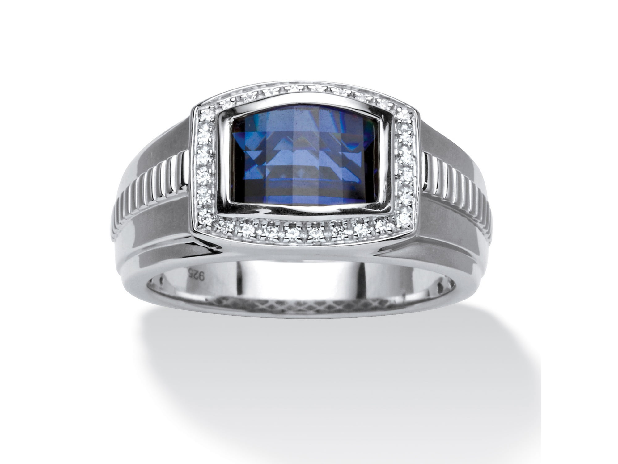 Men's Created Blue and White Sapphire Ring 2.94 TCW in Platinum over Sterling Silver by PalmBeach Jewelry