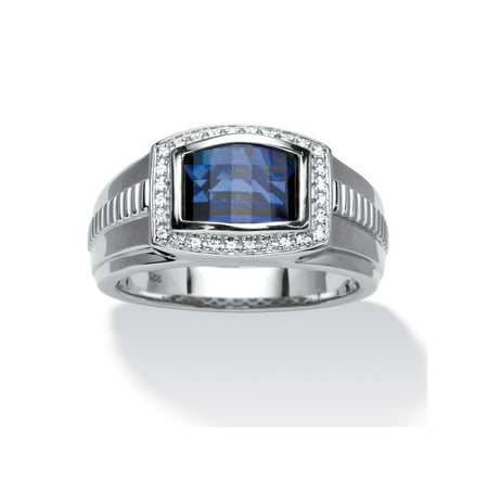 Men's Created Blue and White Sapphire Ring 2.94 TCW in Platinum over Sterling