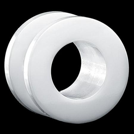 Horn Flesh Tunnel - White Acrylic Double Flare Screw-On Flesh Tunnel Plug