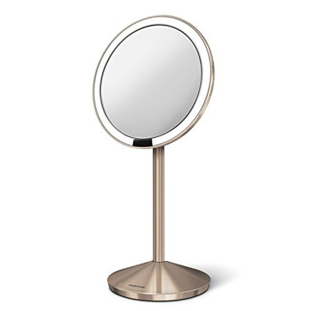 Simplehuman 5 Inch Sensor Mirror Lighted Makeup 10x Magnification Stainless Steel Rose Gold