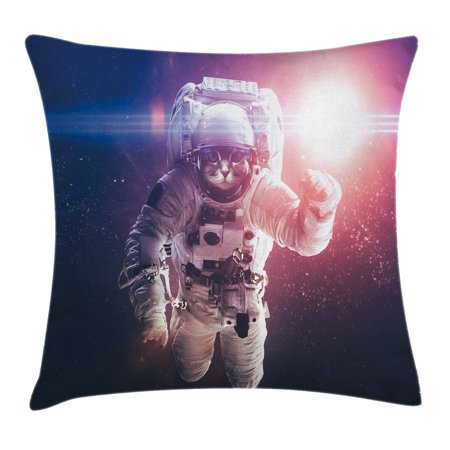 Planet Eclipse Cover (Space Cat Throw Pillow Cushion Cover, Flying Cat Without Gravity with Clusters Planet Eclipse Image, Decorative Square Accent Pillow Case, 16 X 16 Inches, White Purple and Dark Blue, by Ambesonne)