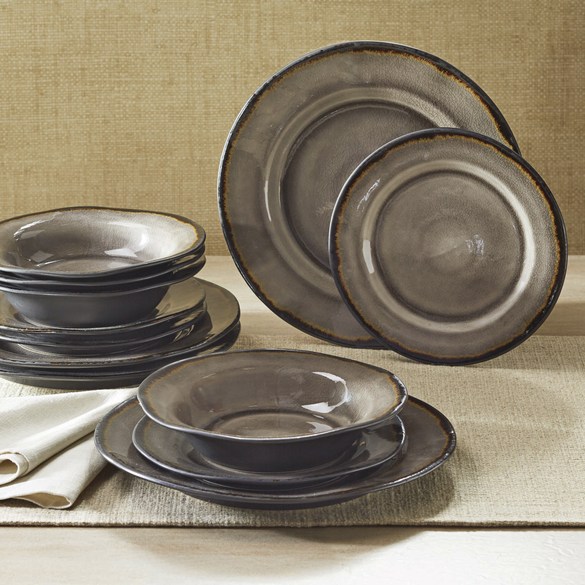 Better Homes & Gardens Bramley Dinnerware, Gray Crackle Glaze, Set of 12