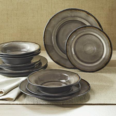 Better Homes Gardens Bramley Dinnerware Gray Crackle Glaze Set