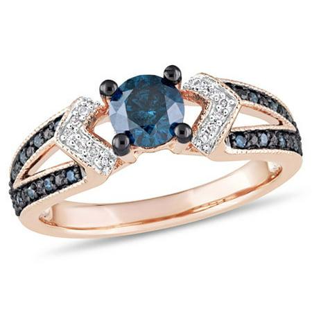Tangelo 3/4 Carat T.W. Blue and White Diamond 10k Rose Gold Split-Shank Engagement Ring