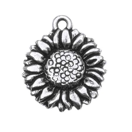 Fine Silver Plated Pewter 2-Side Sunflower Charm 15mm (Pewter Sunflower Charms)