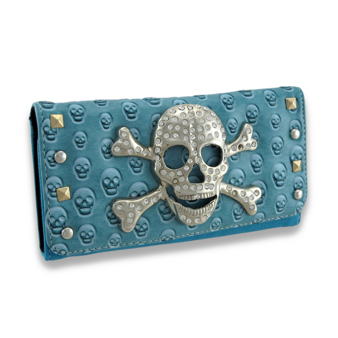 Studded Embossed Skull Wallet with Rhinestone Skull and Crossbones