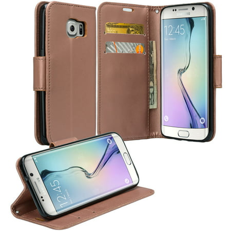 Samsung Galaxy S7 Edge Wallet Case, Wrist Strap Pu Leather Magnetic Flip Fold[Kickstand] with ID & Card Slots for Galaxy S7 Edge - Solid Rose (Soho Magnetic Card Case)