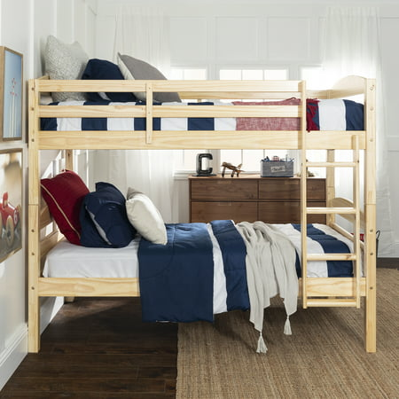 Walker Edison Solid Wood Twin Over Twin Bunk Bed - Natural