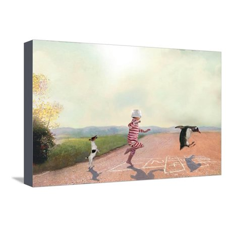 Hopscotch Magical Fantasy Child Boy Girl Game Nursery Childrens Kids Room Artwork Stretched Canvas Print Wall Art By Nancy Tillman
