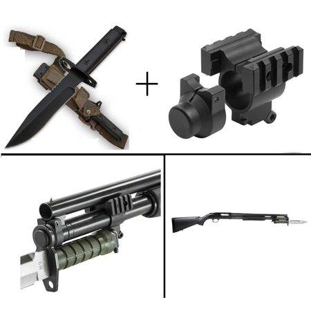 Ultimate Arms Gear Mossberg 500 12Ga Bayonet Barrel Mag 1  Tube Mount Lug For M7   M9 Bayonets   Military M9 M1 Survival Full Tang Blade 1 4  Thick Knife Blade Bayonet