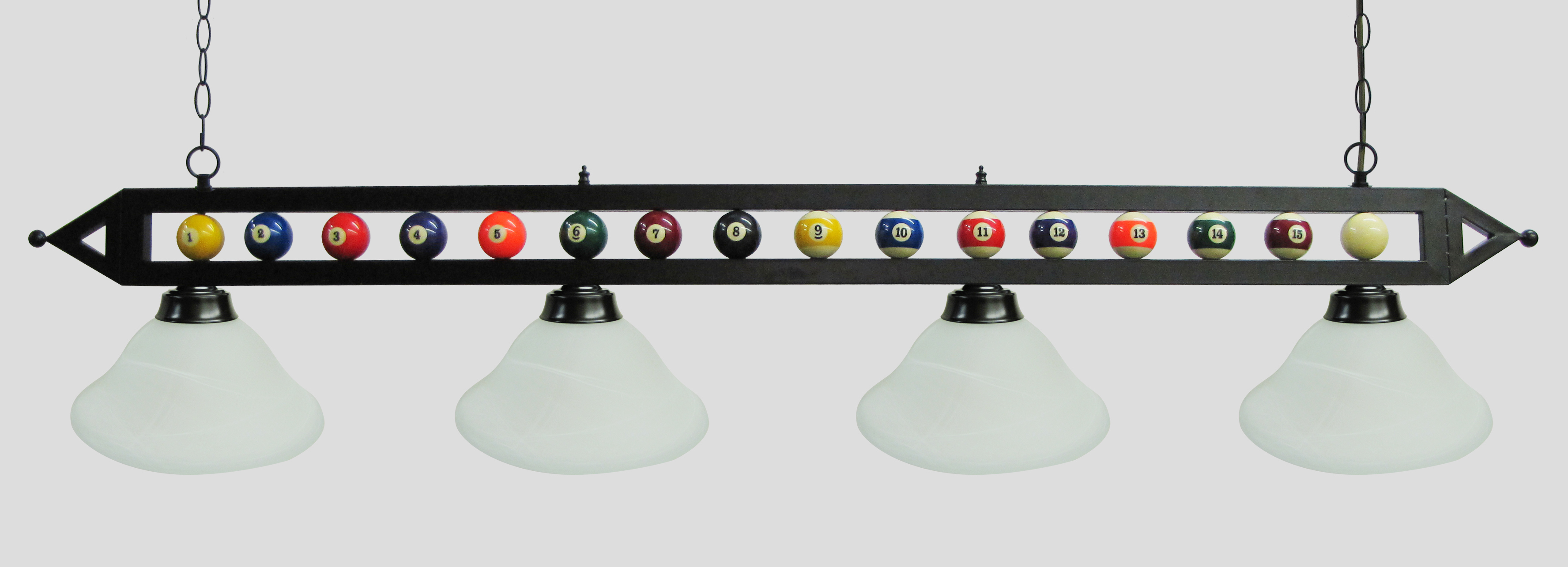"72"" Black Metal Ball Design Pool Table Light Pool Table Light W White Glass Shades by"