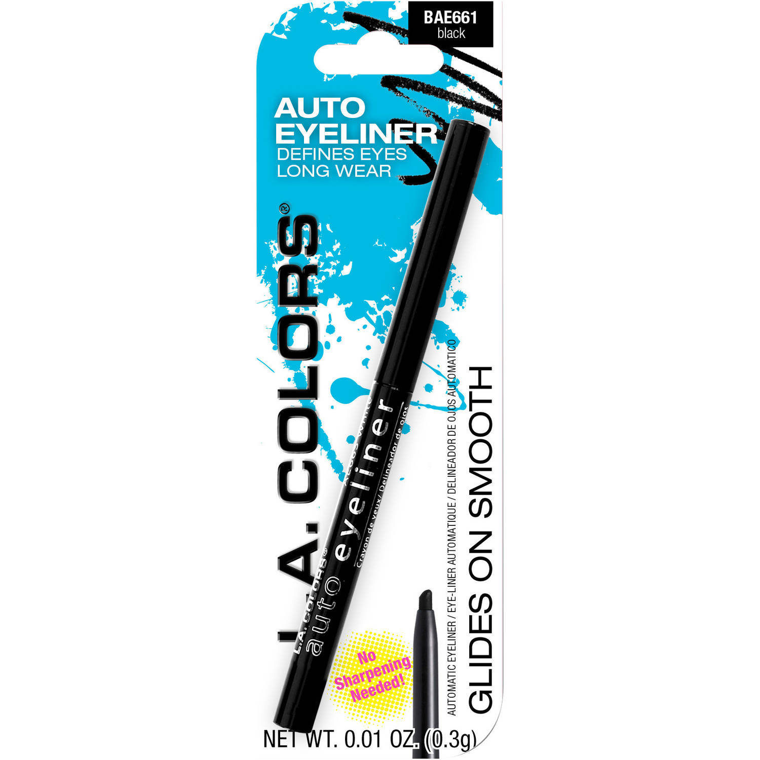 (2 Pack) L.A. Colors Auto Eyeliner Pencil, Black, 0.01 oz